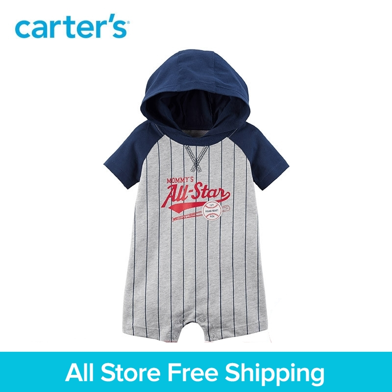 Slogan baseball graphics Hooded Romper Carters Boy baby bodysuit Cotton clothing Summer 118I240
