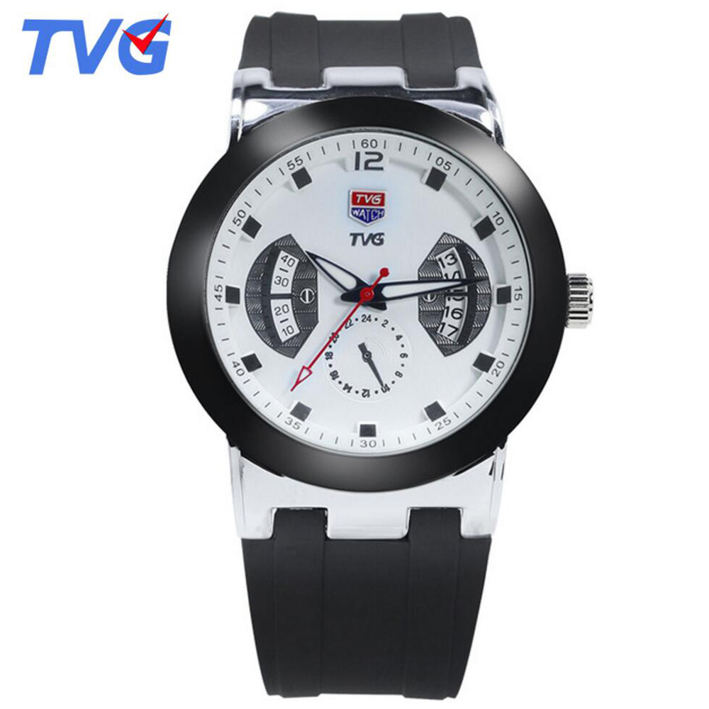 Top Brand Luxury TVG Watches Men 30M Waterpfoof Silicone Watch Male Quartz Clock F1 Sports Watches Men Relogio Masculino tvg 801 male double movt quartz digital watch
