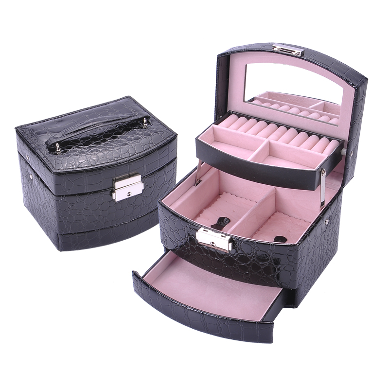 Small Size Three Layer Jewelry Boxes Makeup Case Jewelry Organizer Carrying Cases Women Jewellery Container Birthday Gifts