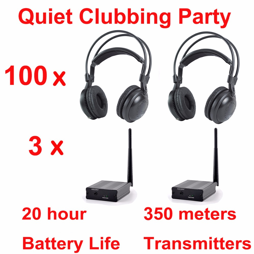 Professional Silent Disco compete system wireless headphones – Quiet Clubbing Party Bundle (100 Headphones + 3 Transmitters)