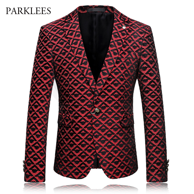 Brand Red Blazer Men Diamond Plaid Design Suit Jacket 2017 Slim Fit Single Breasted Mens Blazers Casual Party Blazer Hombre 4XL