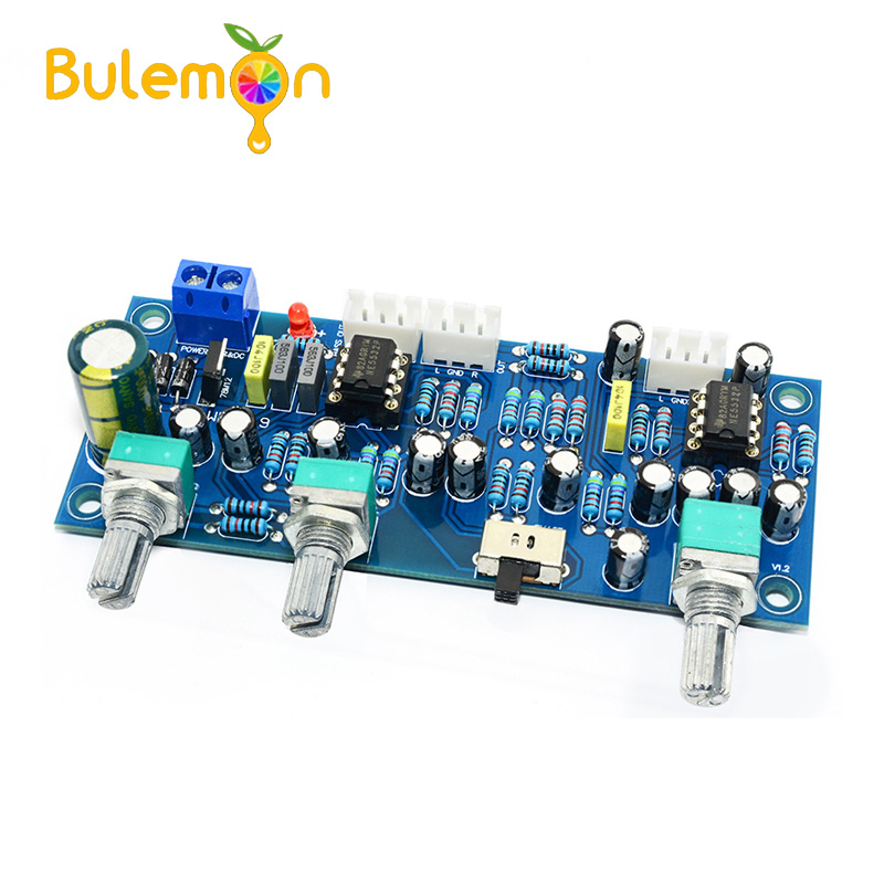 CIRMECH 2.1 Channel Subwoofer Preamp Board Low Pass Filter Pre-AMP Amplifier Board NE5532 Low Pass Filter Bass Preamplifier image