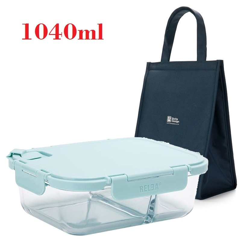 A Kitchen Is Launching An Express Lunch Service: 1040ml Glass Lunch Containers With Dividers Men Food