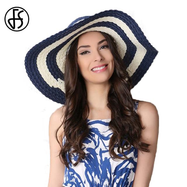 FS Elegant Royal Blue Striped Straw Hats Large Wide Brim Summer Sun Hat For  Women Floppy Beach Sun Cap Chapeau Femme De Soleil 0fb606fe55e