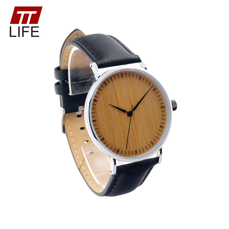 ФОТО TTLIFE Men Simple Slim Big Dial Watch with Bamboo Black Genuine Leather Band Japanese Movement Minimalist Quartz Watches