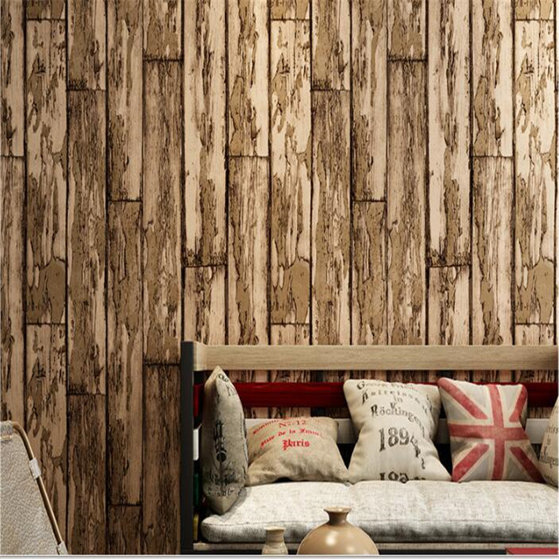 beibehang Non-woven wood-like wallpaper 3D restaurant tea shop casual bar TV background wall American retro wood grain wallpaperbeibehang Non-woven wood-like wallpaper 3D restaurant tea shop casual bar TV background wall American retro wood grain wallpaper