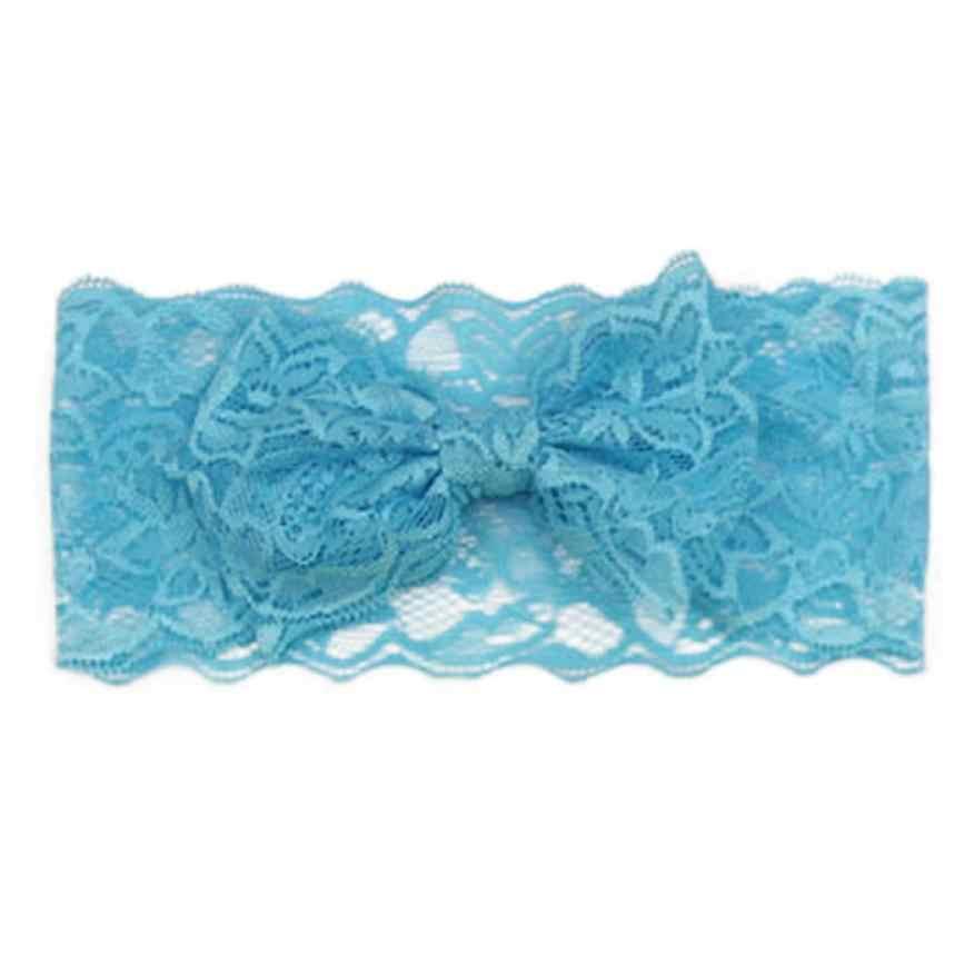 แฟชั่นสาว Headwear ผ้าลูกไม้นุ่มเด็กผมวงดอกไม้ Big Bow Elastic HEAD Wrap Band โบว์โบว์เด็กหัวอุปกรณ์เสริม
