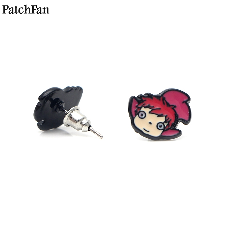 12pairs/lot Patchfan Ponyo on the Cliff by the Sea earrings enamel Charm Cute para party favor gift women Souvenir present A0970
