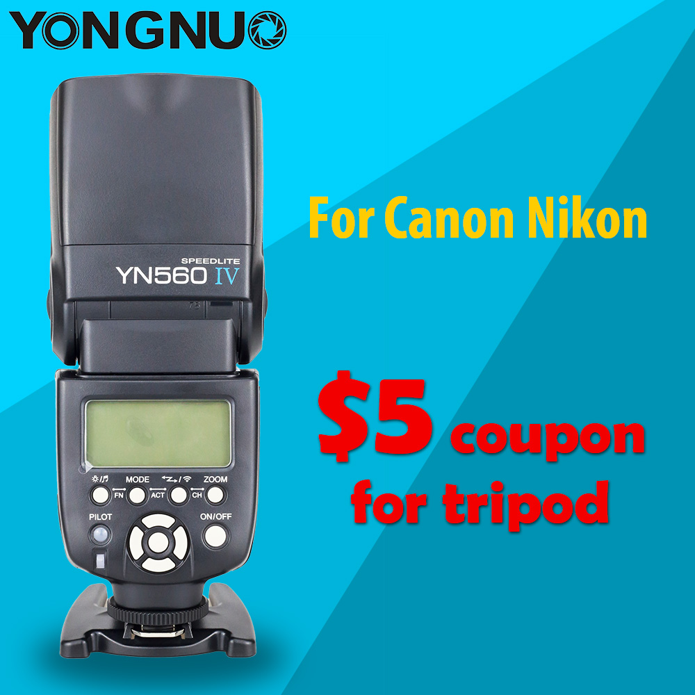 Yongnuo YN560 IV YN560IV Universal Wirelss Master Slave Flash Speedlite for Canon Nikon DSLR Camera with gift and $5 coupon image