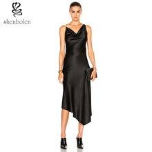 Shenbolen 2017 latesd пикантные черные с тонкими лямками v-образным вырезом спинки платье летом для женщин платье Бесплатная пакет почты