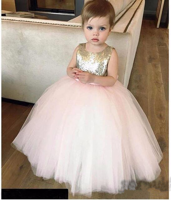 Cute Gold and Pink Sequined Flower Girl Dresses with Bow Sash Girls Birthday Parties Dress Tulle Custom Made Cheap 2018 pink sequined glitter tulle
