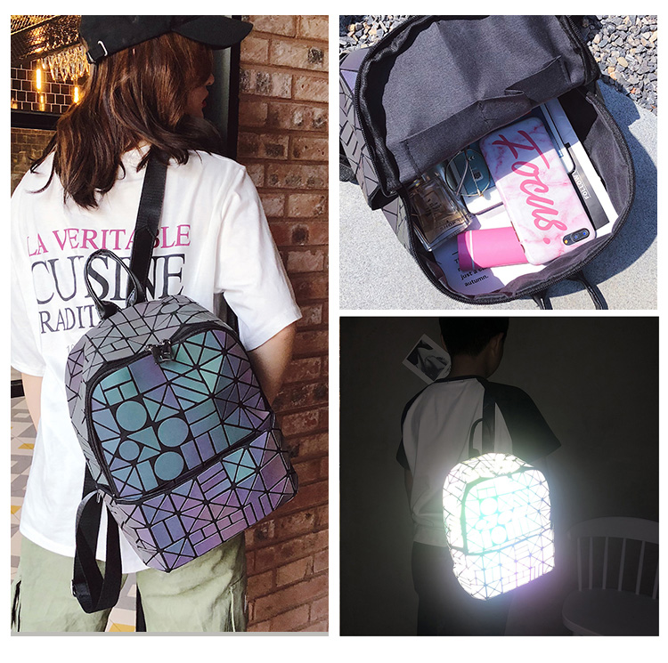 Unisex Women Backpacks Chameleon Simple Style Women Travel Bag School Bags For Teenagers Girls Fashion Luminous Reflective Glare