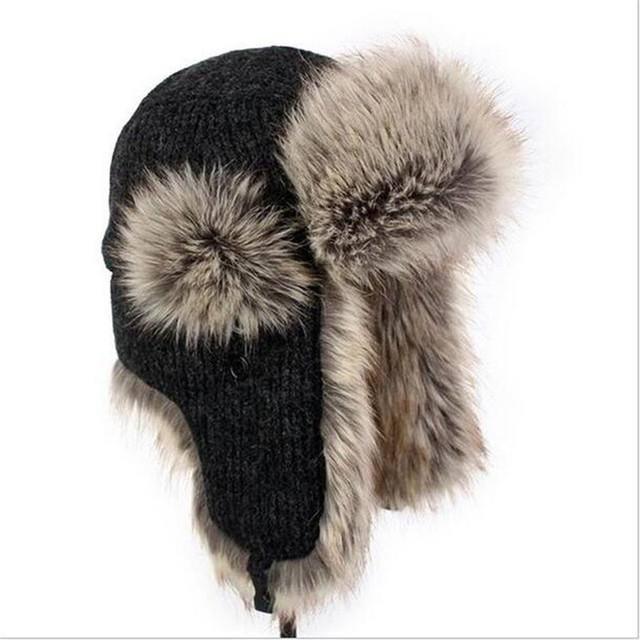 Inverno Quente Lei Feng Caps Chapéus Russa Europa Inverno Quente Abas de Orelha Chapéu feito malha Esportes Ao Ar Livre Máscaras Chapéu Bombardeiro Térmica A2492