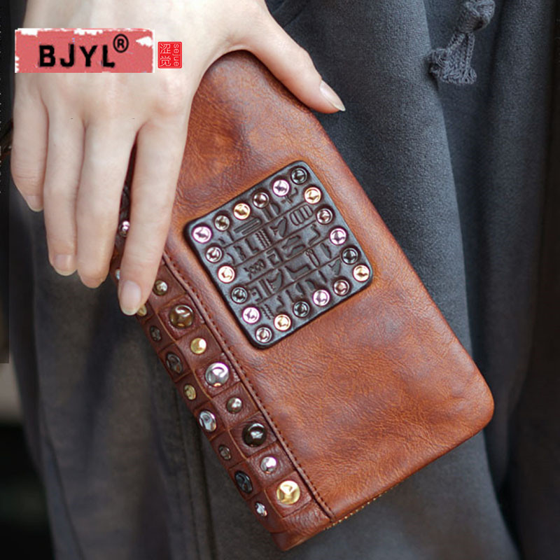 BJYL Men and Women Retro handmade leather rivet, real Genuine leather, Korean version, long wallet , old mobile phone passport.