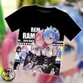 Аниме Re: Жизнь в другой мир с нуля, Rem, Ram kawaii Сетка Футболка Ти лето Топы женщин людей Унисекс Косплей одежда