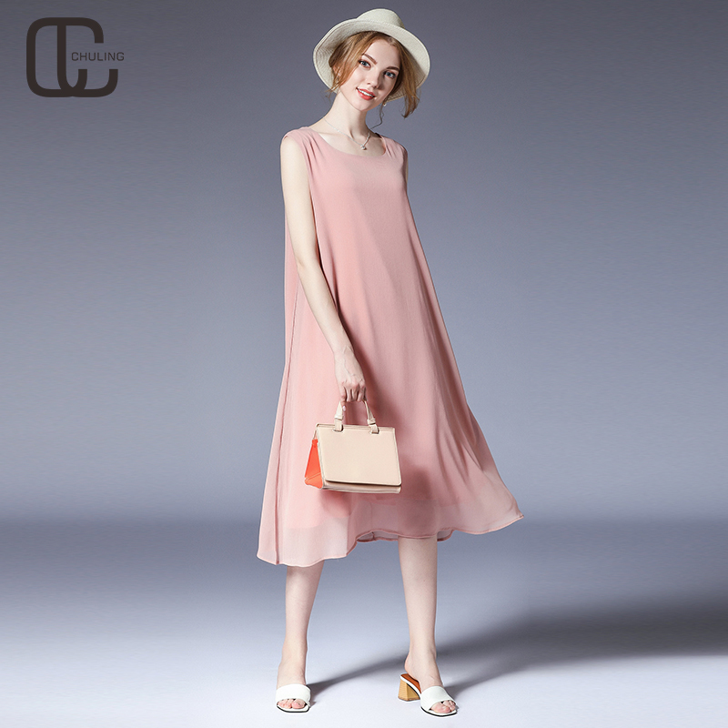 6d05052720dd3 Summer Women Chiffon Crepe 6 Colors Simple Plus Size Casual Sleeveless  Dresses Beach Holiday Elegant 2018 Fashion Lady Clothes on Aliexpress.com