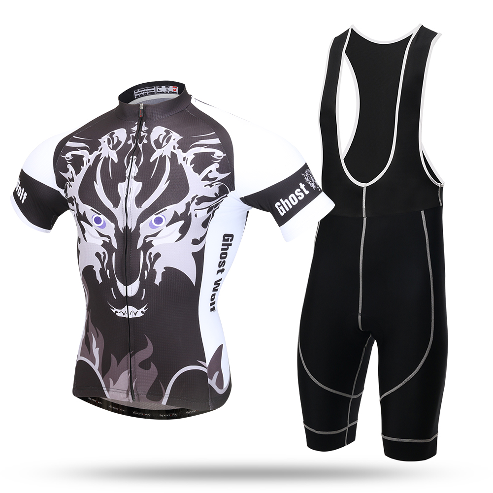 2016 Ghost Wolf Bicycle Jerseys Pro Cycling Short Sleeve Jersey and Bib Kit Ropa Ciclismo Hombre Team Cycle Clothing Set meilunna christmas black friday customize movie hockey jerseys mighty ducks 2 team rival iceland team 9 gunnar stahl jersey