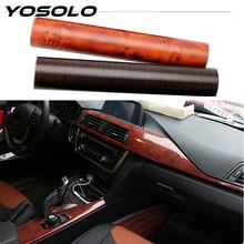 YOSOLO ПВХ 3D Автомобильные наклейки для интерьера, пленка для обертывания автомобиля, защитные наклейки с текстурой под дерево, украшение для стайлинга автомобиля 30*100 см