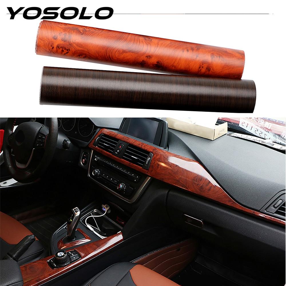 YOSOLO PVC 3D פנים רכב מדבקות לרכב גלישת סרט מגן מדבקות עץ תבואה מרקם רכב סטיילינג קישוט 30*100cm