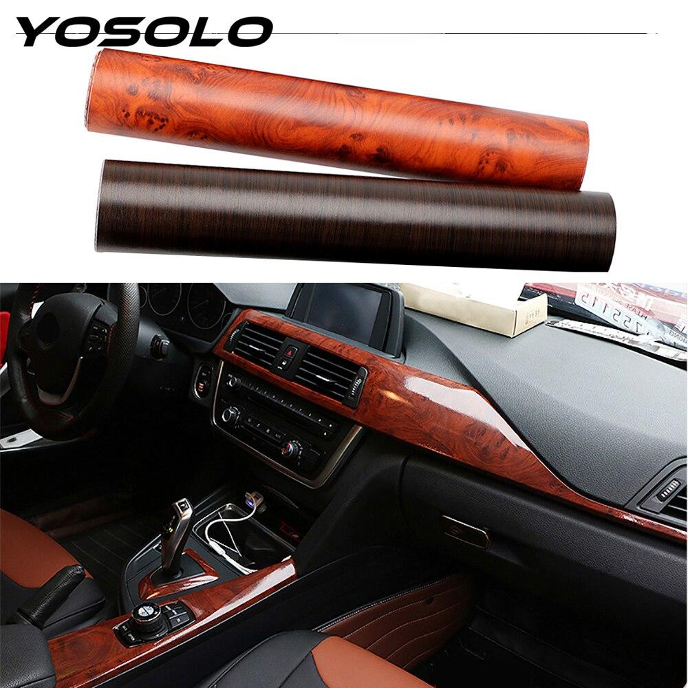 YOSOLO PVC 3D automobile intérieur autocollants Film d'enveloppe de voiture autocollants de protection Grain de bois texturé voiture style décoration 30*100cm