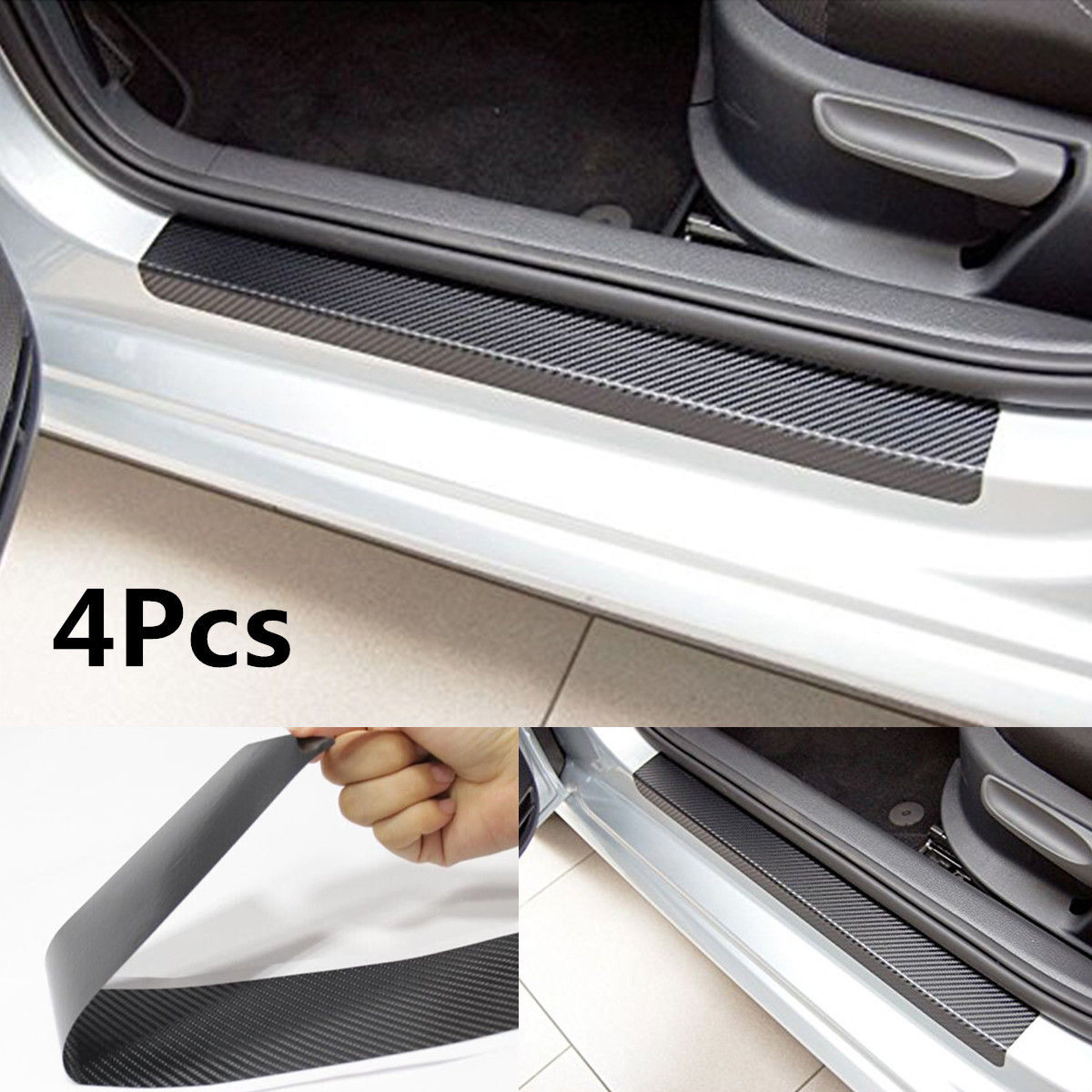 4Psc Universal Black Car Door Plate Sill Scuff Cover Anti Scratch Sticker Carbon Fiber Look Protective Sticker