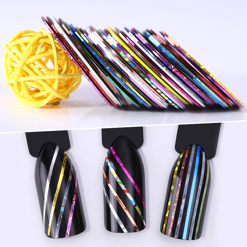 10 Rolls 1mm Nail Striping Tapes Adhesive Sticker Line Multi Color DIY Nail Art Styling Tools Decoration 14 rolls glitter scrub nail art striping tape line sticker tips diy mixed colors self adhesive decal tools manicure 1mm 2mm 3mm