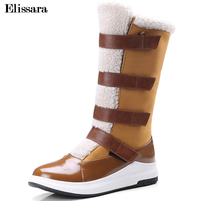 00315bf748b6 Elissara Women Winter Warm Snow Boots Shoes Winter Feminine Fashion Mid  Heels Mid Calf Magic Stickers Shoes Plus Size 33-43