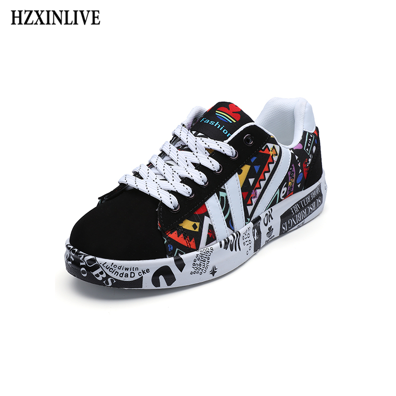 HZXINLIVE 2019 Summer Woman Sneakers White Casual Shoes Lovers Printing Fashion Flat Ladies Vulcanized Shoes Zapatos De Mujer