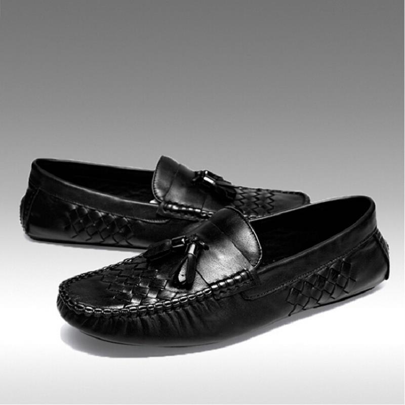 Sapatos Mycolen Casual Padrão Flats Homens Moda Tecido Preto Genuínos Drivng Zapatos 2019 Preguiçosos Da De Couro Novos Mocassins P7r7xfI