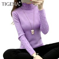 TIGENA Thick Warm Women Turtleneck Sweater 2017 Autumn Winter Knit Women Sweaters And Pullovers Female Tricot