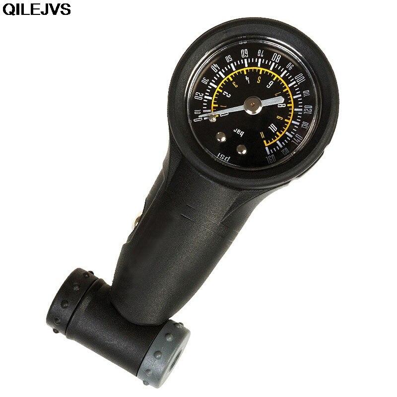 QILEJVS MTB Road Bike Air Pressure Gauge 160Psi Tire Meter For Presta /Schrader Valve