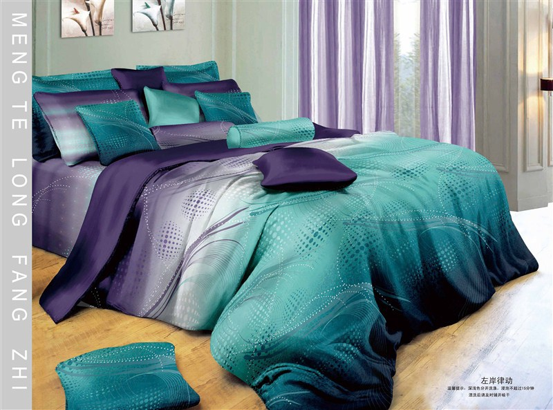 5pc Modern Gradient Blue White Purple Cotton Comforter