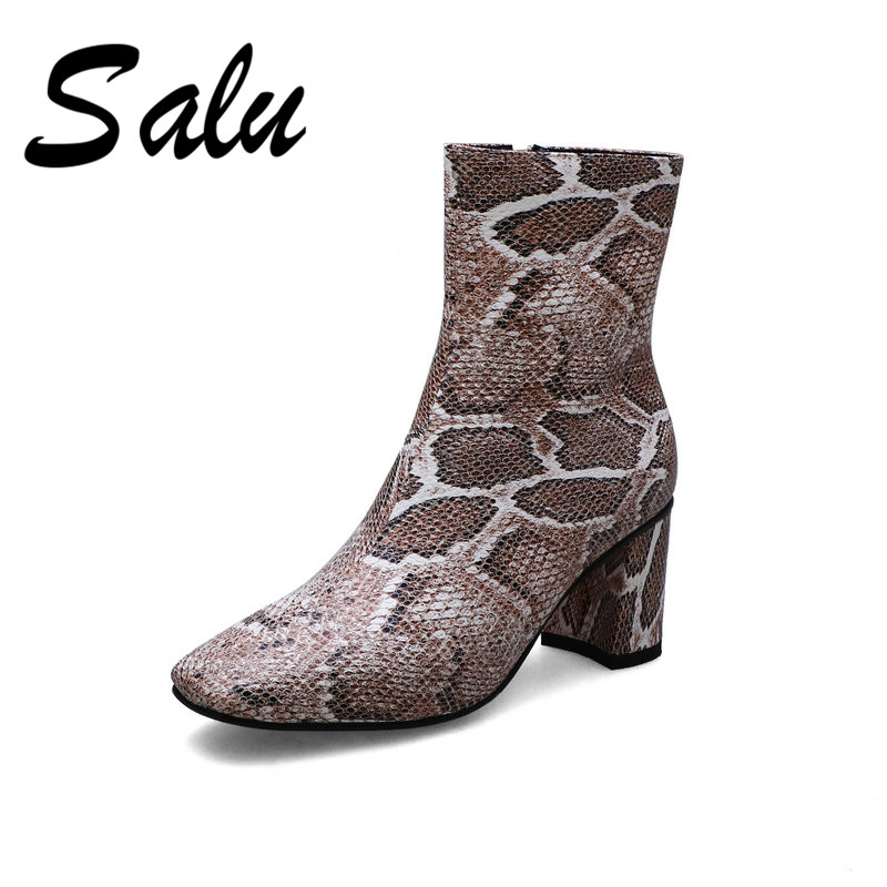 Salu Autumn Winter Fashion Sexy Pointed Toe square heel Women ankle Boots Animal Prints Pu Leather Zipper Party Shoes Woman