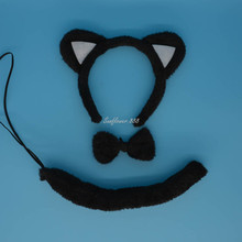 Animal Cat Ear Headband Bow Tail Halloween Party Fancy Dress Decor