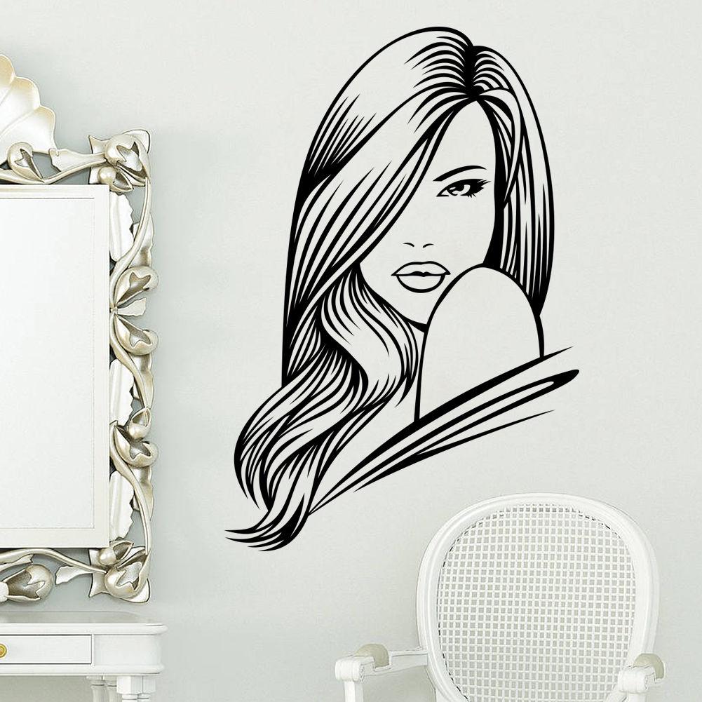 Hwhd hot vinyl decor salon wall sticker girls hair - Stickers para decorar paredes ...
