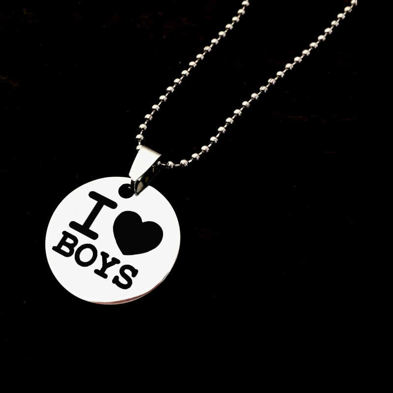 Men Women Gay Pride Necklace Stainless Steel Pendant Necklace Engrave I love boys/Girls Necklaces Long Customized Logo Jewelry