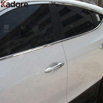 현대 투손 ix35 ix 35 2010-2015 자동차 창 트림 surroud 프레임 몰딩 커버 스티커 외관 액세서리 10 pcs