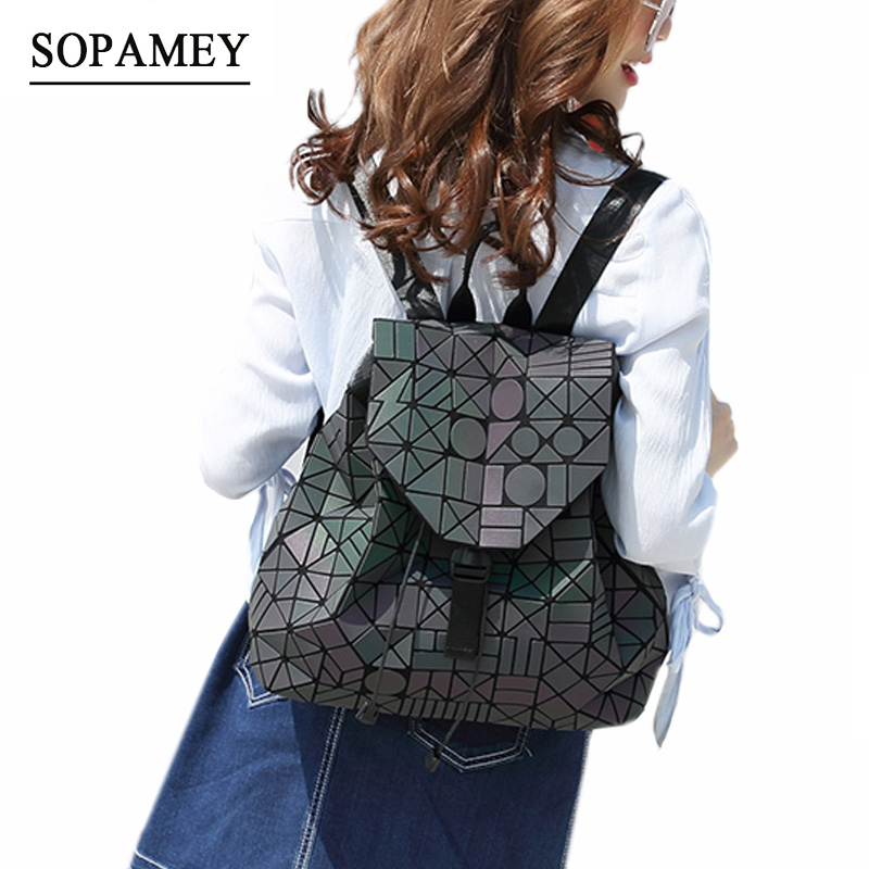 Women Backpack Feminine Geometric Sequin Female Backpacks For Teenage Girls Bagpack Drawstring Bag Holographic Luminous Backpack