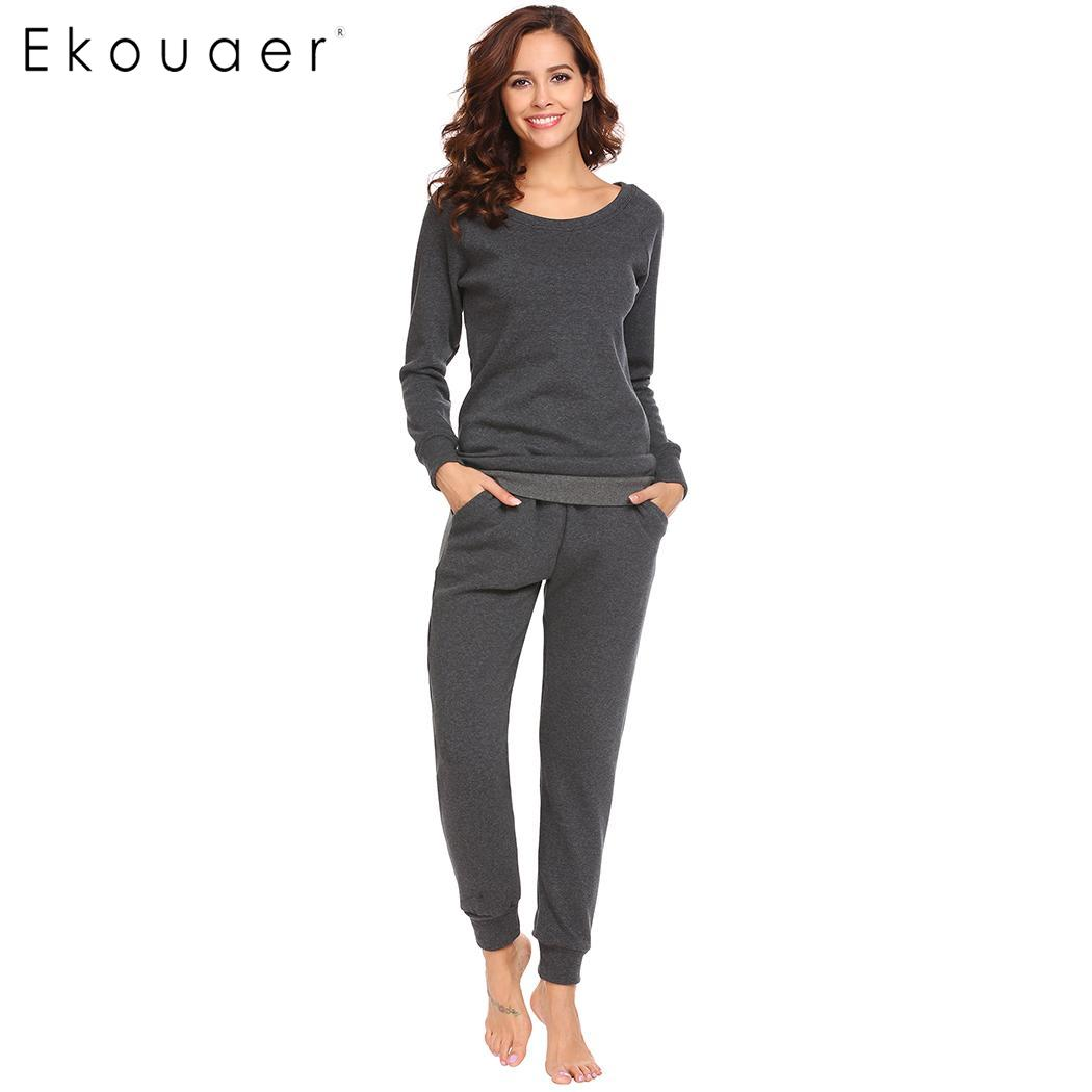 Ekouaer Women   Pajama     Sets   2 Piece Sleepwear   Set   Long Sleeve Fleece Lined Top and Pant Thermal Underwear Nighties   Pajamas     Set