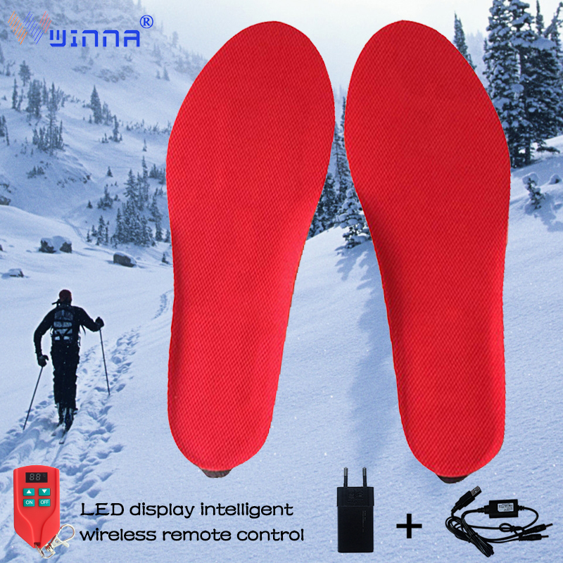 Unisex Warm Electrically Heated Insoles Increase Heating Pads Winter Outdoor Sports Ski Hunting Thermal Insoles EUR SIZE 35-46#