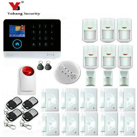 YobangSecurity Touch Keypad Wireless GSM WiFi GPRS Intelligent Alarm Security System with Pet Immune Detector Friendly RFID