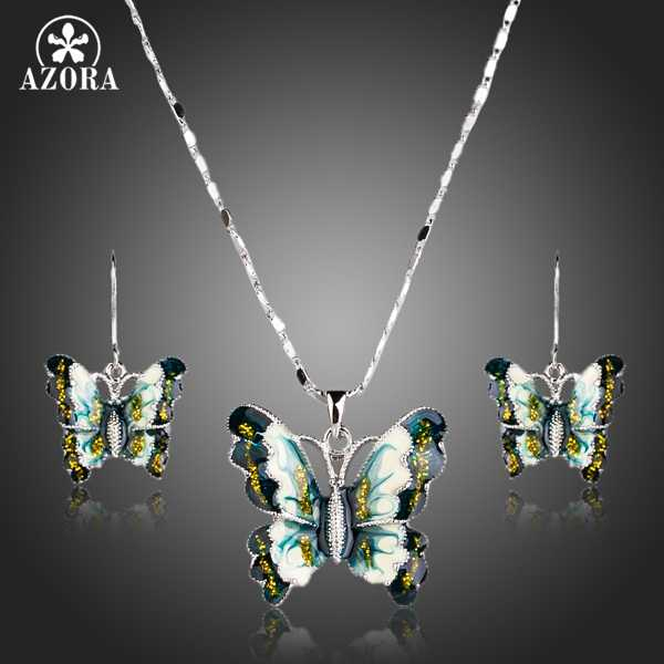 AZORA Butterfly Design With Oil Painting Pattern Pendant Necklace and Drop Earrings Jewelry Sets TG0167