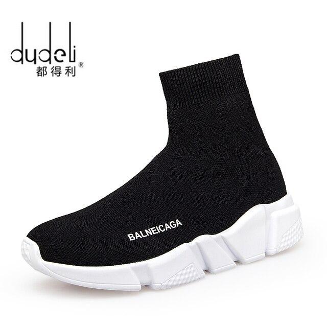 Dudeli мужчин Носки для девочек Спортивная обувь новый раунд нижние эластичные Ткань Для женщин спортивные Обувь Париж пара Кроссовки Zapatos Mujer Deportivos