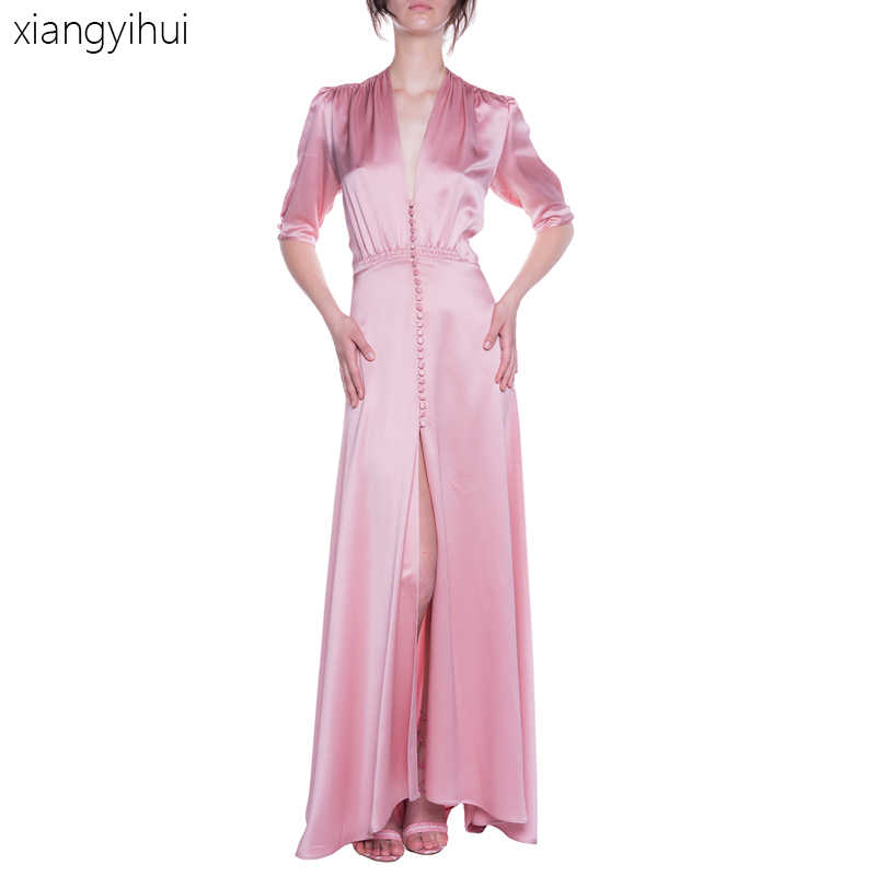 9369833dbe10d Sexy Fashion Deep V Neck Dress Long Pink Dresses Women's Summer Autumn Satin  Buttons Party Dress