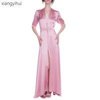 Sexy Fashion Deep V Neck Dress Long Pink Dresses Women's Summer Autumn Satin Buttons Party Dress Bodycon Vestidos Female 2018