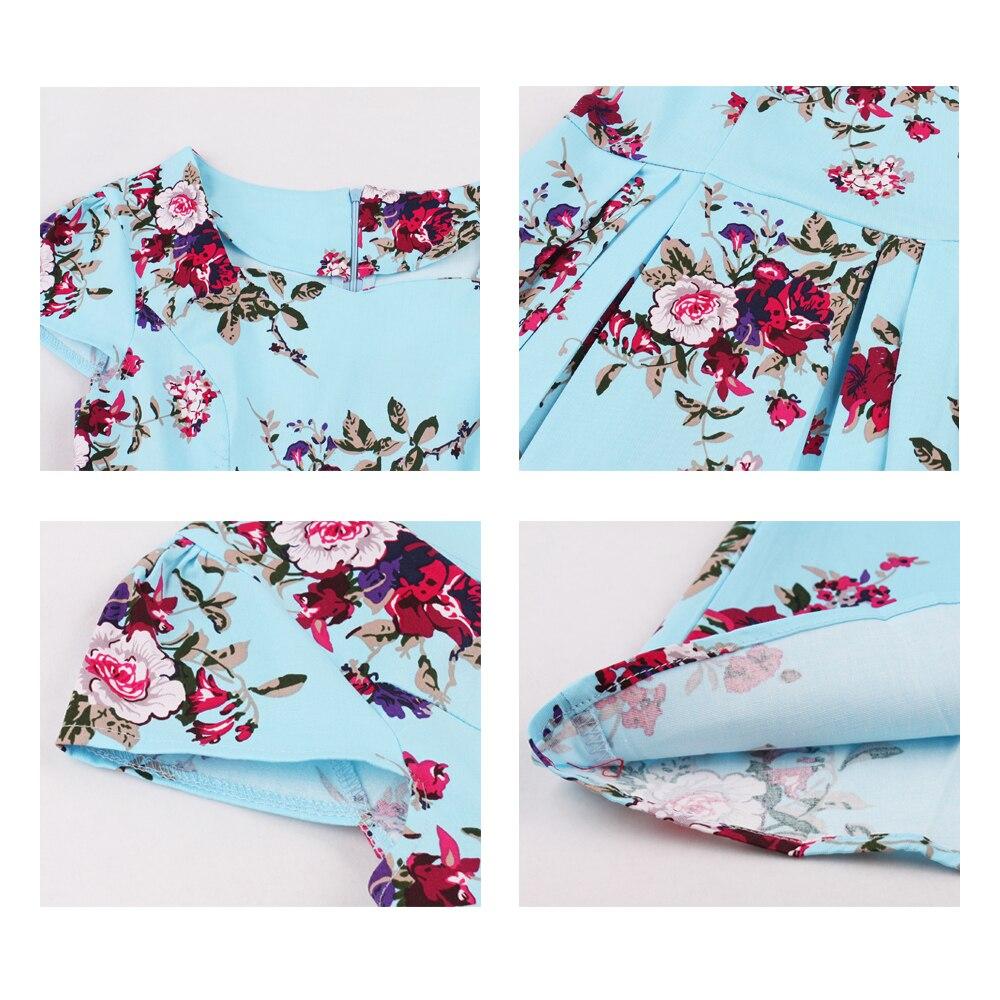 Retro Vintage Floral Print A-Line Dress 7
