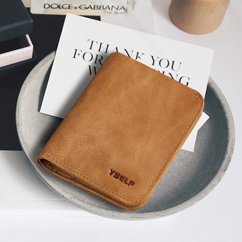 100% Guarantee Natural Genuine leather men wallets Vintage Simple Fashion Design Cowskin wallet Pure Handmade Purses for men
