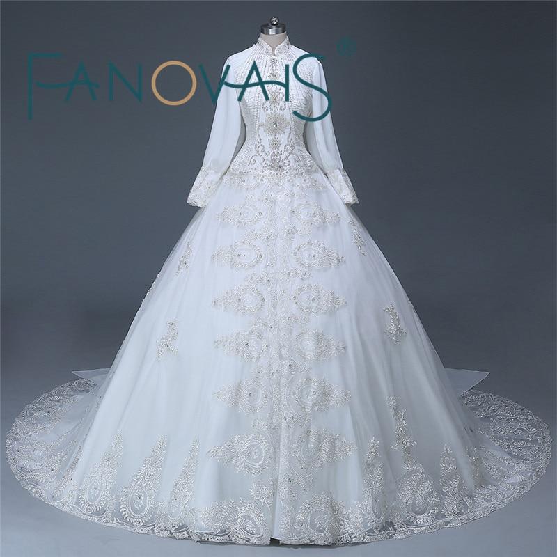Elegant Dubai desain terbaru Lengan panjang manik Organza Muslim hijab Wedding Dress Wedding gaun pengantin PHOTOS 2016