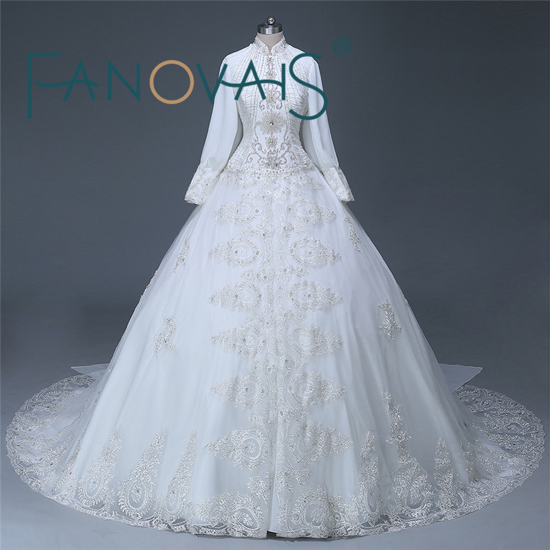 Elegant Dubai newest design Long sleeve Beading Organza Muslim Bridal hijab Wedding Dress wedding gowns PHOTOS 2019