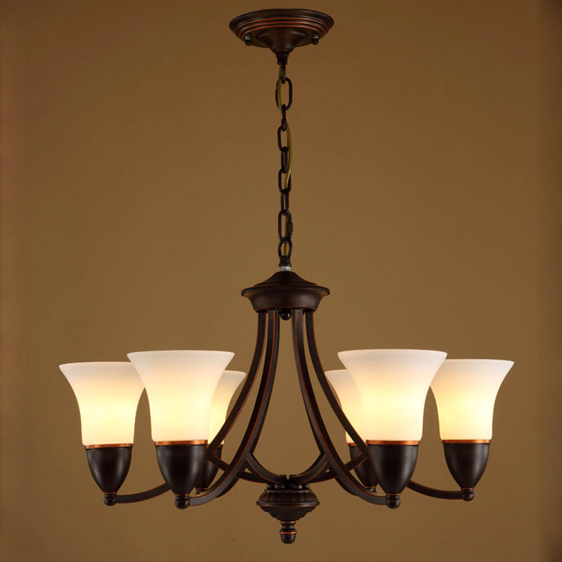 Glass Chandeliers Vintage Lamp Living Room Kitchen Dining Room Stair Light White Lampshade Black Iron Home Lighting E14 110-220V kitchen aisle stair light wall lamp vintage iron fabric lampshade decor sconces indoor home lighting gift e14 3w led bulb 220v